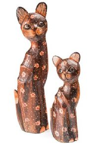 Sculpture~ Hippy Bohemian Hand Carved Hand Painted Balinese Wooden Set of 2 Cats~ By Folio Gothic Hippy CV35